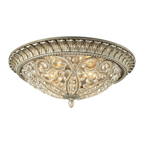ELK Lighting 11694/4 Andalusia 4-Light Flush Mount in Aged Silver with Clear Crystal and Beaded Glass Diffuser