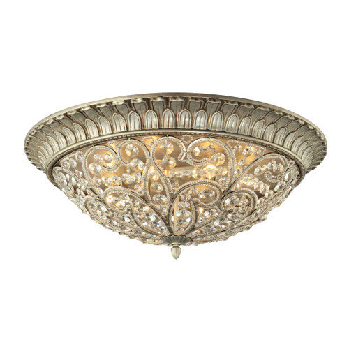 ELK Lighting 11695/8 Andalusia 8-Light Flush Mount in Aged Silver with Clear Crystal and Beaded Glass Diffuser