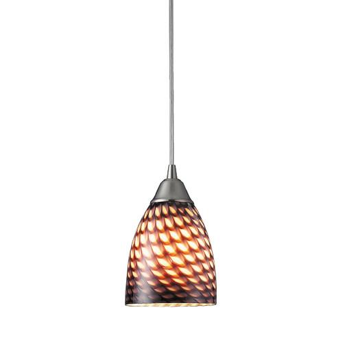 ELK Lighting 416-1C Arco Baleno 1-Light Mini Pendant in Satin Nickel with Coco Glass