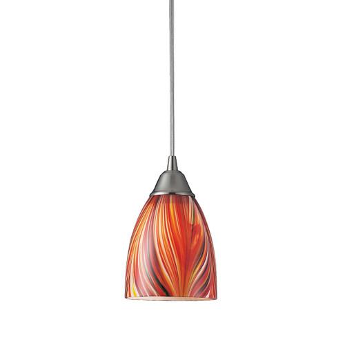 ELK Lighting 416-1M Arco Baleno 1-Light Mini Pendant in Satin Nickel with Multi-colored Glass