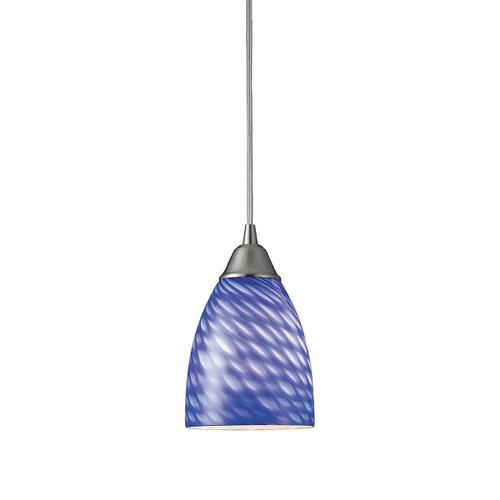 ELK Lighting 416-1S Arco Baleno 1-Light Mini Pendant in Satin Nickel with Sapphire Glass