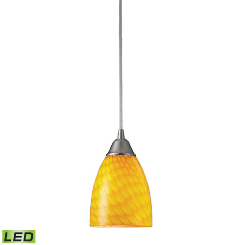 ELK Lighting 416-1CN-LED Arco Baleno 1-Light Mini Pendant in Satin Nickel with Canary Glass - Includes LED Bulb