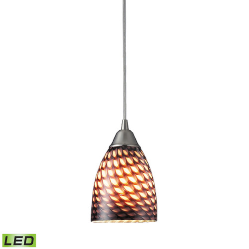 ELK Lighting 416-1C-LED Arco Baleno 1-Light Mini Pendant in Satin Nickel with Coco Glass - Includes LED Bulb