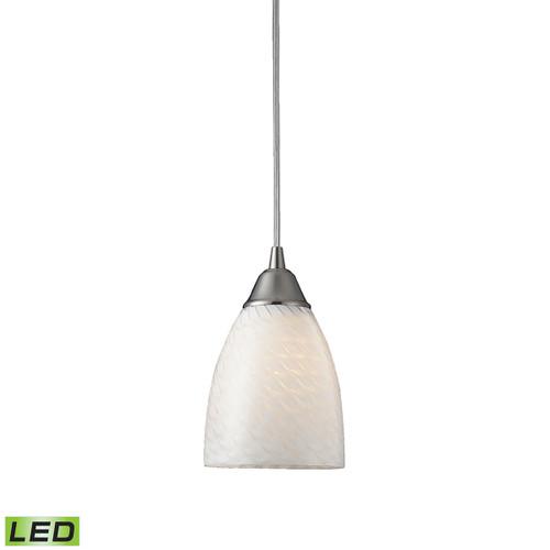 ELK Lighting 416-1WS-LED Arco Baleno 1-Light Mini Pendant in Satin Nickel with White Swirl Glass - Includes LED Bulb