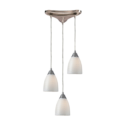 ELK Lighting 416-3WS Arco Baleno 3-Light Triangular Pendant Fixture in Satin Nickel with White Swirl Glass