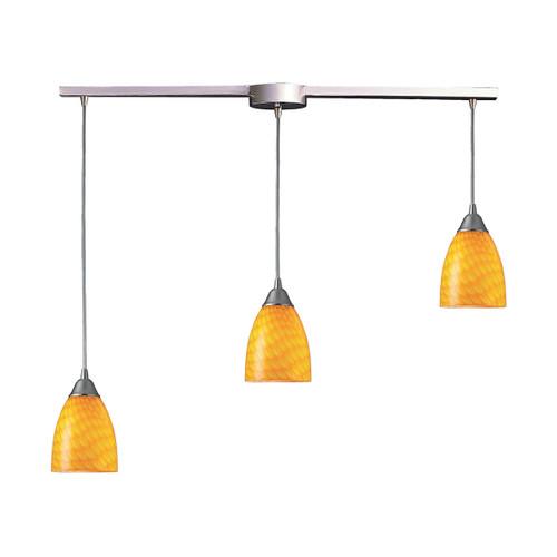 ELK Lighting 416-3L-CN Arco Baleno 3-Light Linear Pendant Fixture in Satin Nickel with Canary Glass