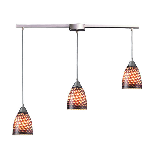 ELK Lighting 416-3L-C Arco Baleno 3-Light Linear Pendant Fixture in Satin Nickel with Coco Glass