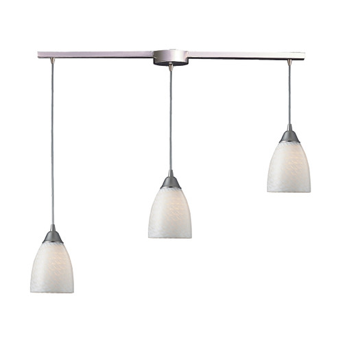 ELK Lighting 416-3L-WS Arco Baleno 3-Light Linear Pendant Fixture in Satin Nickel with White Swirl Glass