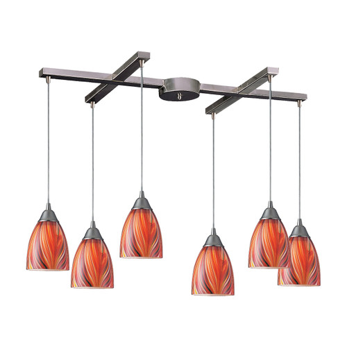 ELK Lighting 416-6M Arco Baleno 6-Light H-Bar Pendant Fixture in Satin Nickel with Multi-colored Glass