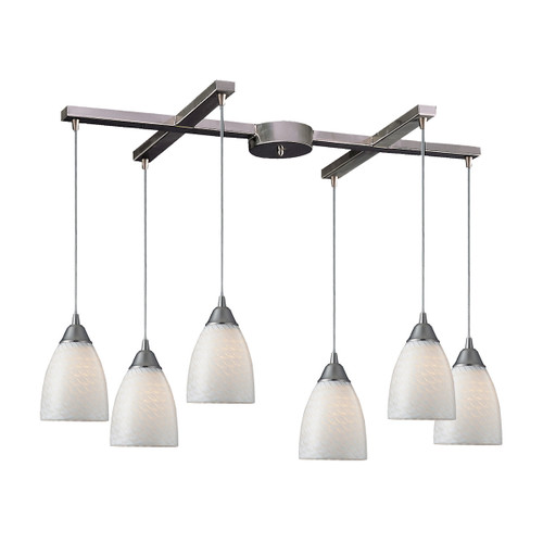 ELK Lighting 416-6WS Arco Baleno 6-Light H-Bar Pendant Fixture in Satin Nickel with White Swirl Glass