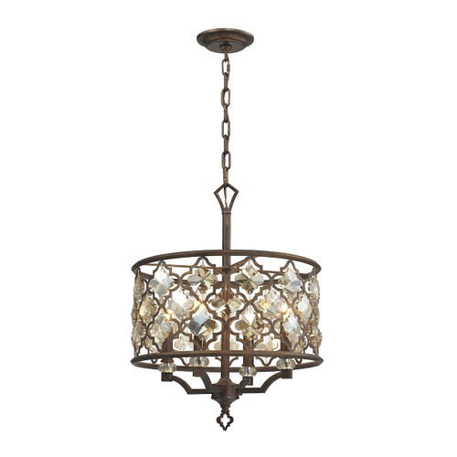 ELK Lighting 31096/4 Armand 4-Light Chandelier in Weathered Bronze with Amber Teak Crystals and Metal Shade