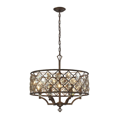 ELK Lighting 31097/6 Armand 6-Light Chandelier in Weathered Bronze with Amber Teak Crystals and Metal Shade