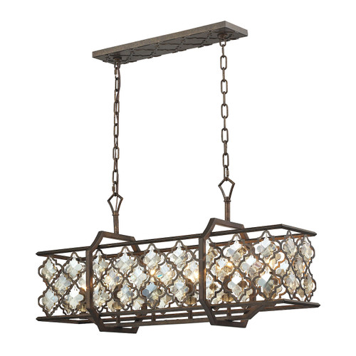 ELK Lighting 31098/6 Armand 6-Light Linear Chandelier in Weathered Bronze with Amber Teak Crystals and Metal Shade
