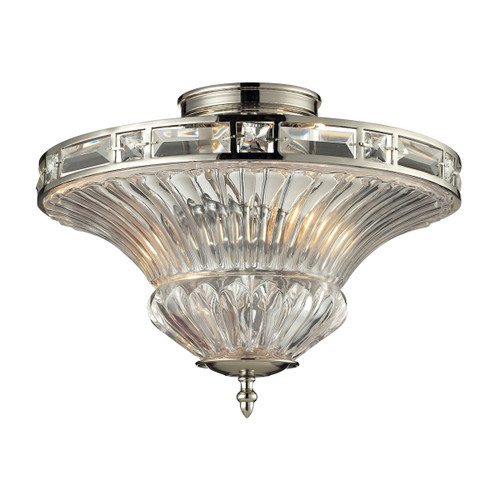 ELK Lighting 31500/2 Aubree 2-Light Semi Flush in Polished Nickel with Clear Glass Diffuser