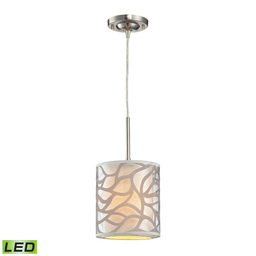ELK Lighting 53000/1-LED Autumn Breeze 1-Light Mini Pendant in Brushed Nickel with Fabric and Metal - Includes LED Bulb