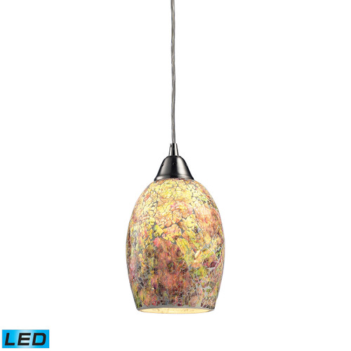 ELK Lighting 73021-1-LED Avalon 1-Light Mini Pendant in Satin Nickel with Multi-colored Crackle Glass - Includes LED Bulb