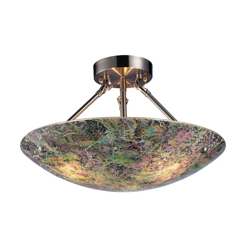 ELK Lighting 73022-3 Avalon 3-Light Semi Flush in Satin Nickel with Multi-colored Crackle Glass