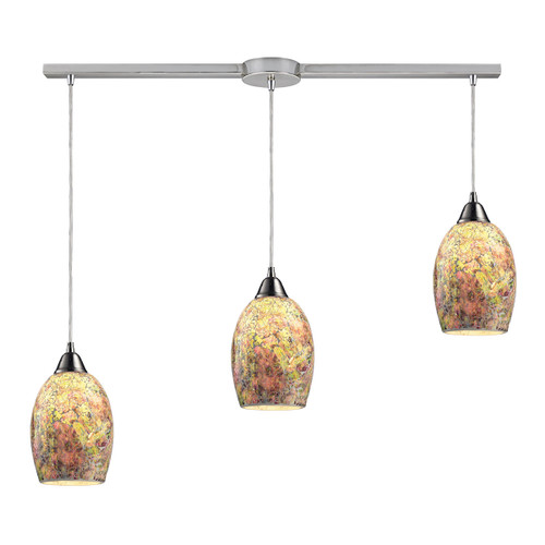 ELK Lighting 73021-3L Avalon 3-Light Linear Pendant Fixture in Satin Nickel with Multi-colored Crackle Glass