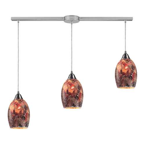 ELK Lighting 73031-3L Avalon 3-Light Linear Pendant Fixture in Satin Nickel with Multi-colored Crackle Glass