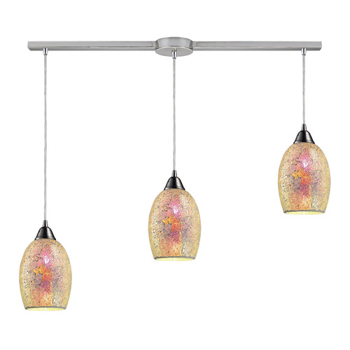 ELK Lighting 73041-3L Avalon 3-Light Linear Pendant Fixture in Satin Nickel with Multi-colored Crackle Glass