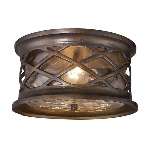 ELK Lighting 42037/2 Barrington Gate 2-Light Outdoor Flush Mount in Hazelnut Bronze
