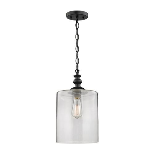 ELK Lighting 46221/1 Bergen 1-Light Mini Pendant in Matte Black with Clear Glass