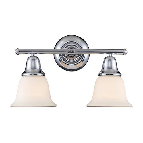 ELK Lighting 67011-2 Berwick 2-Light Vanity Lamp in Polished Chrome with White Glass
