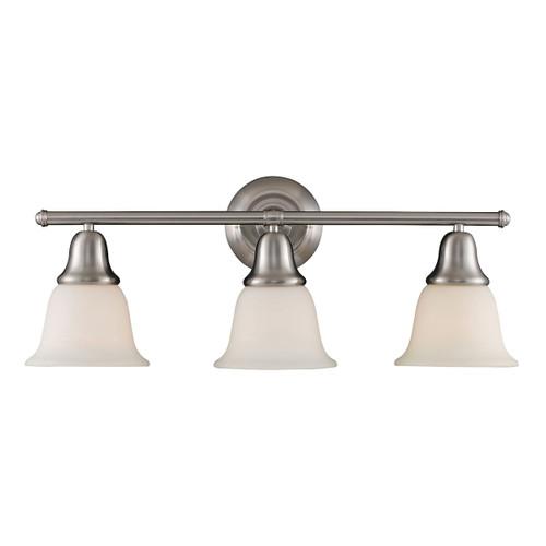 ELK Lighting 67022-3 Berwick 3-Light Vanity Lamp in Brushed Nickel with White Glass