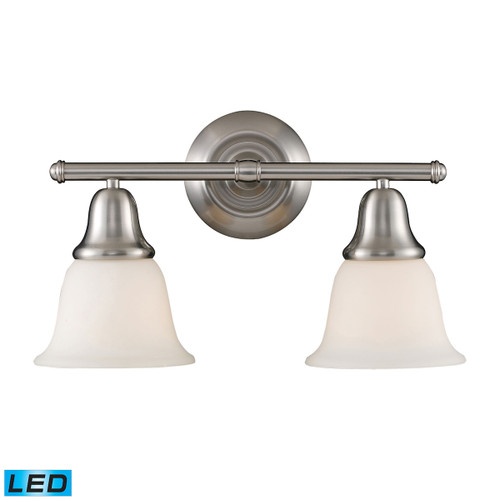 ELK Lighting 67021-2-LED Berwick 2-Light Vanity Lamp in Brushed Nickel with White Glass - Includes LED Bulbs