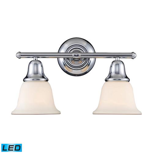 ELK Lighting 67011-2-LED Berwick 2-Light Vanity Lamp in Polished Chrome with White Glass - Includes LED Bulbs