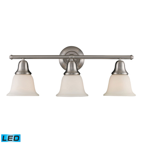 ELK Lighting 67022-3-LED Berwick 3-Light Vanity Lamp in Brushed Nickel with White Glass - Includes LED Bulbs