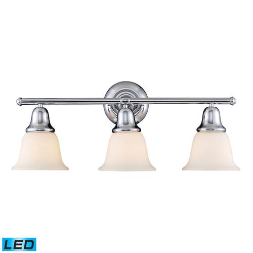 ELK Lighting 67012-3-LED Berwick 3-Light Vanity Lamp in Polished Chrome with White Glass - Includes LED Bulbs