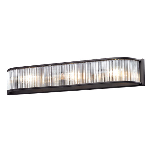 ELK Lighting 10327/3 Braxton 3-Light Vanity Sconce in Aged Bronze with White Etched Glass