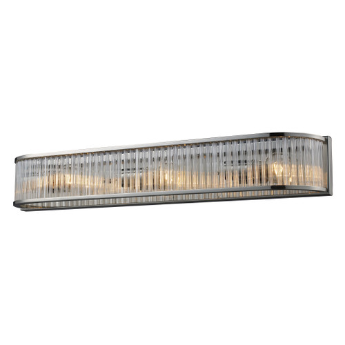 ELK Lighting 10127/3 Braxton 3-Light Vanity Sconce in Polished Nickel with Ribbed Glass