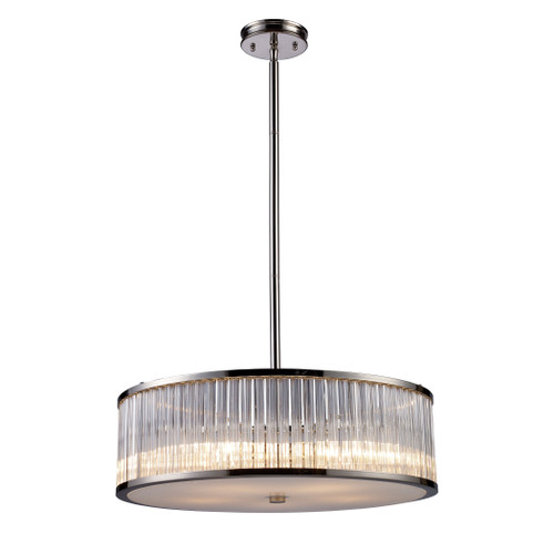 ELK Lighting 10129/5 Braxton 5-Light Chandelier in Polished Nickel with Ribbed Glass Cylinder Shade