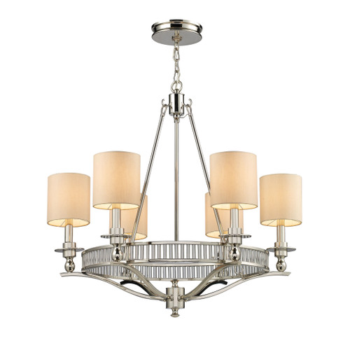 ELK Lighting 10167/6 Braxton 6-Light Chandelier in Polished Nickel with Tan Fabric Shades