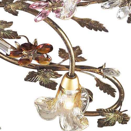 ELK Lighting 9105/4 Brillare 4-Light Semi Flush in Bronzed Rust with Multi-colored Floral Crystals