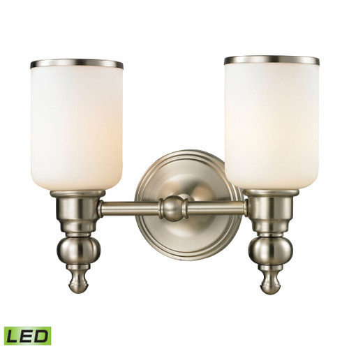 ELK Lighting 11581/2-LED Bristol 2-Light Vanity Lamp in Brushed Nickel with Opal White Blown Glass - Includes LED Bulbs