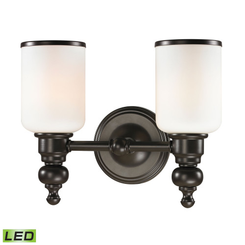 ELK Lighting 11591/2-LED Bristol 2-Light Vanity Lamp in Oil Rubbed Bronze with Opal White Blown Glass - Includes LED Bulbs