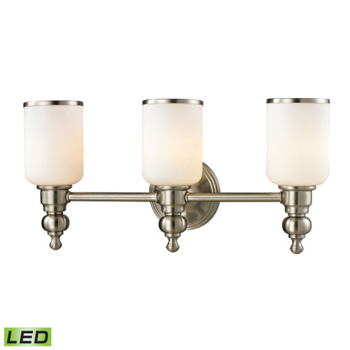ELK Lighting 11582/3-LED Bristol 3-Light Vanity Lamp in Brushed Nickel with Opal White Blown Glass - Includes LED Bulbs