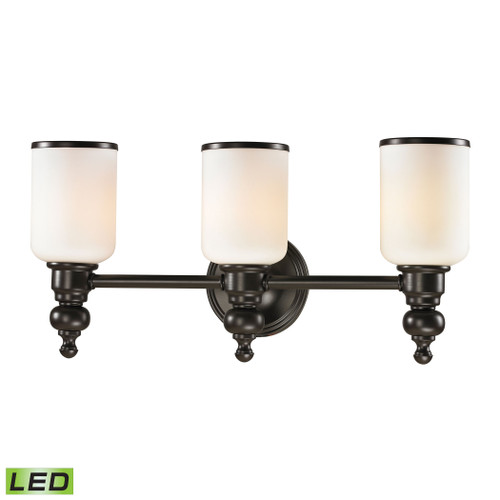 ELK Lighting 11592/3-LED Bristol 3-Light Vanity Lamp in Oil Rubbed Bronze with Opal White Blown Glass - Includes LED Bulbs