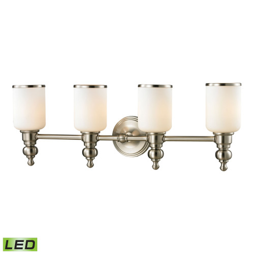 ELK Lighting 11583/4-LED Bristol 4-Light Vanity Lamp in Brushed Nickel with Opal White Blown Glass - Includes LED Bulbs