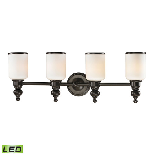 ELK Lighting 11593/4-LED Bristol 4-Light Vanity Lamp in Oil Rubbed Bronze with Opal White Blown Glass - Includes LED Bulbs