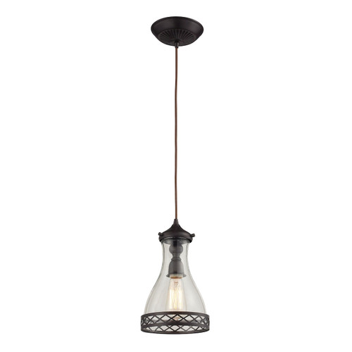 ELK Lighting 63034-1 Brookline 1-Light Mini Pendant in Oiled Bronze with Metal and Glass Shade
