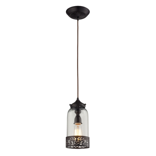 ELK Lighting 63035-1 Brookline 1-Light Mini Pendant in Oiled Bronze with Metal and Glass Shade
