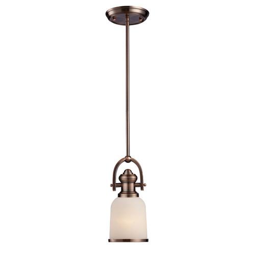 ELK Lighting 66181-1 Brooksdale 1-Light Mini Pendant in Antique Copper with White Glass