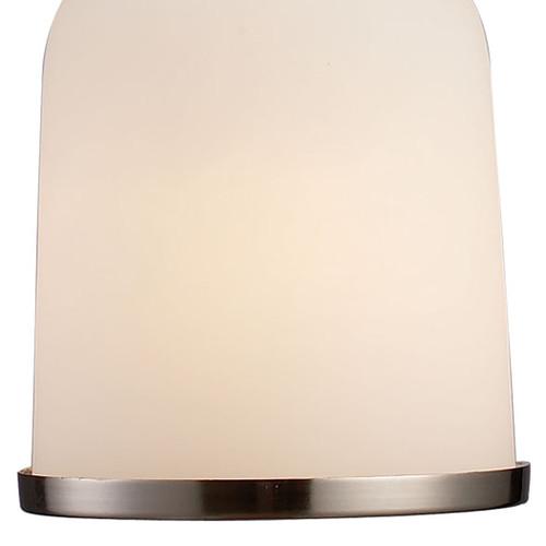 ELK Lighting 66161-1 Brooksdale 1-Light Mini Pendant in Satin Nickel with White Glass