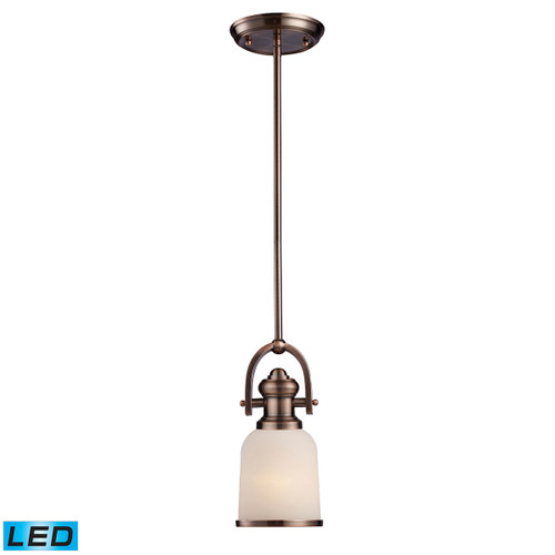 ELK Lighting 66181-1-LED Brooksdale 1-Light Mini Pendant in Antique Copper with White Glass - Includes LED Bulb