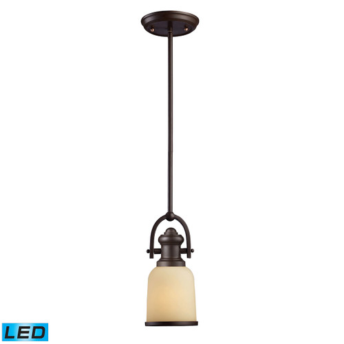 ELK Lighting 66171-1-LED Brooksdale 1-Light Mini Pendant in Oiled Bronze with Amber Glass - Includes LED Bulb
