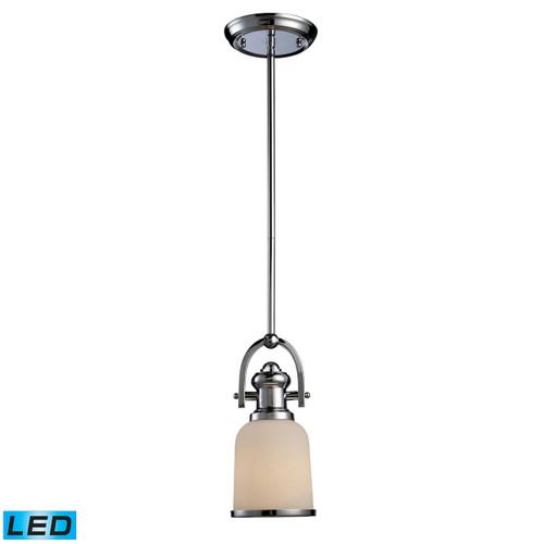 ELK Lighting 66151-1-LED Brooksdale 1-Light Mini Pendant in Polished Chrome with White Glass - Includes LED Bulb